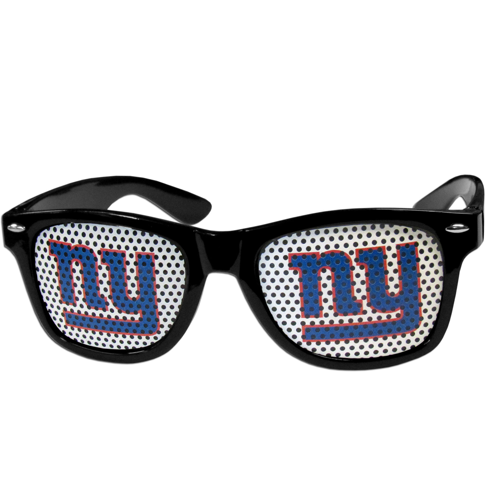 New York Giants Game Day Shades - Our officially licensed game day shades are the perfect accessory for the devoted New York Giants fan! The sunglasses have durable polycarbonate frames with flex hinges for comfort and damage resistance. The lenses feature brightly colored team clings that are perforated for visibility.