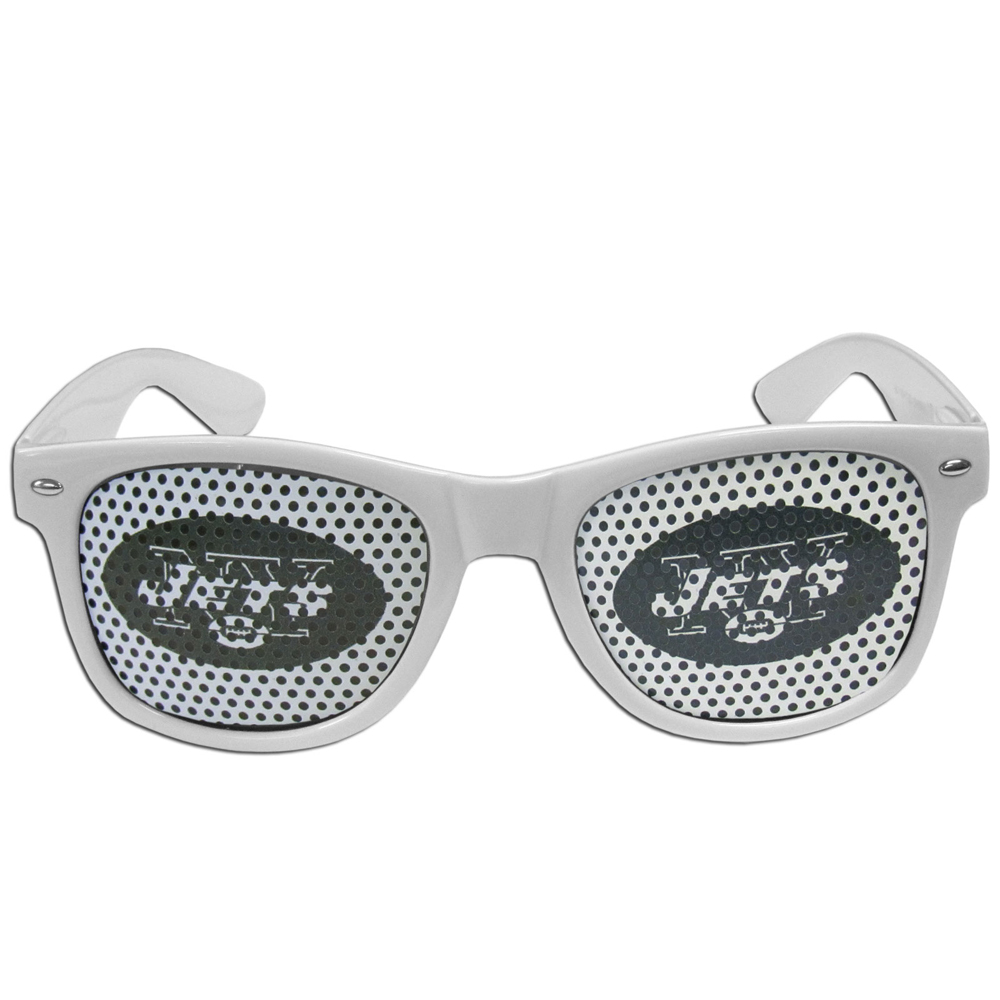 New York Jets Game Day Shades - Our officially licensed game day shades are the perfect accessory for the devoted New York Jets fan! The sunglasses have durable polycarbonate frames with flex hinges for comfort and damage resistance. The lenses feature brightly colored team clings that are perforated for visibility.