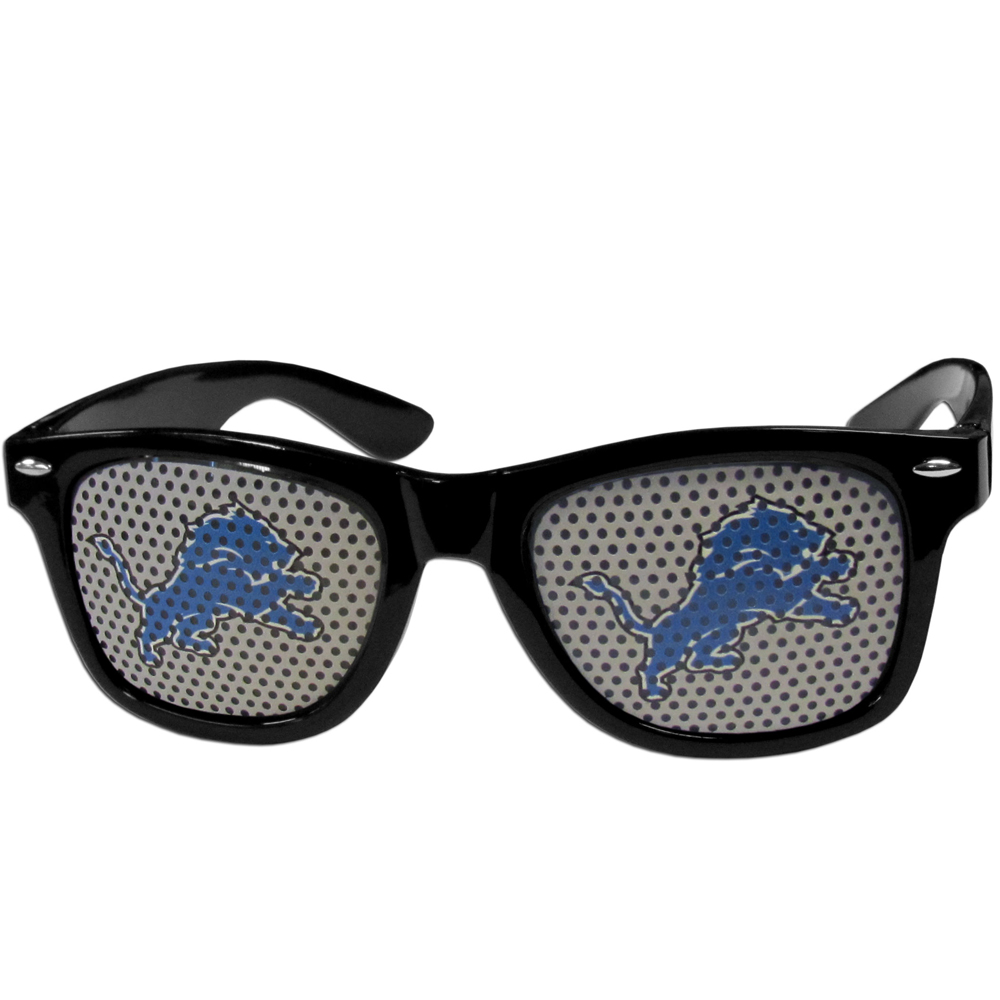 Detroit Lions Game Day Shades - Our officially licensed game day shades are the perfect accessory for the devoted Detroit Lions fan! The sunglasses have durable polycarbonate frames with flex hinges for comfort and damage resistance. The lenses feature brightly colored team clings that are perforated for visibility.