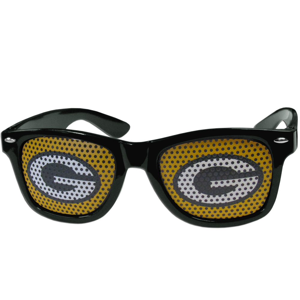 Green Bay Packers Game Day Shades - Our officially licensed game day shades are the perfect accessory for the devoted Green Bay Packers fan! The sunglasses have durable polycarbonate frames with flex hinges for comfort and damage resistance. The lenses feature brightly colored team clings that are perforated for visibility.