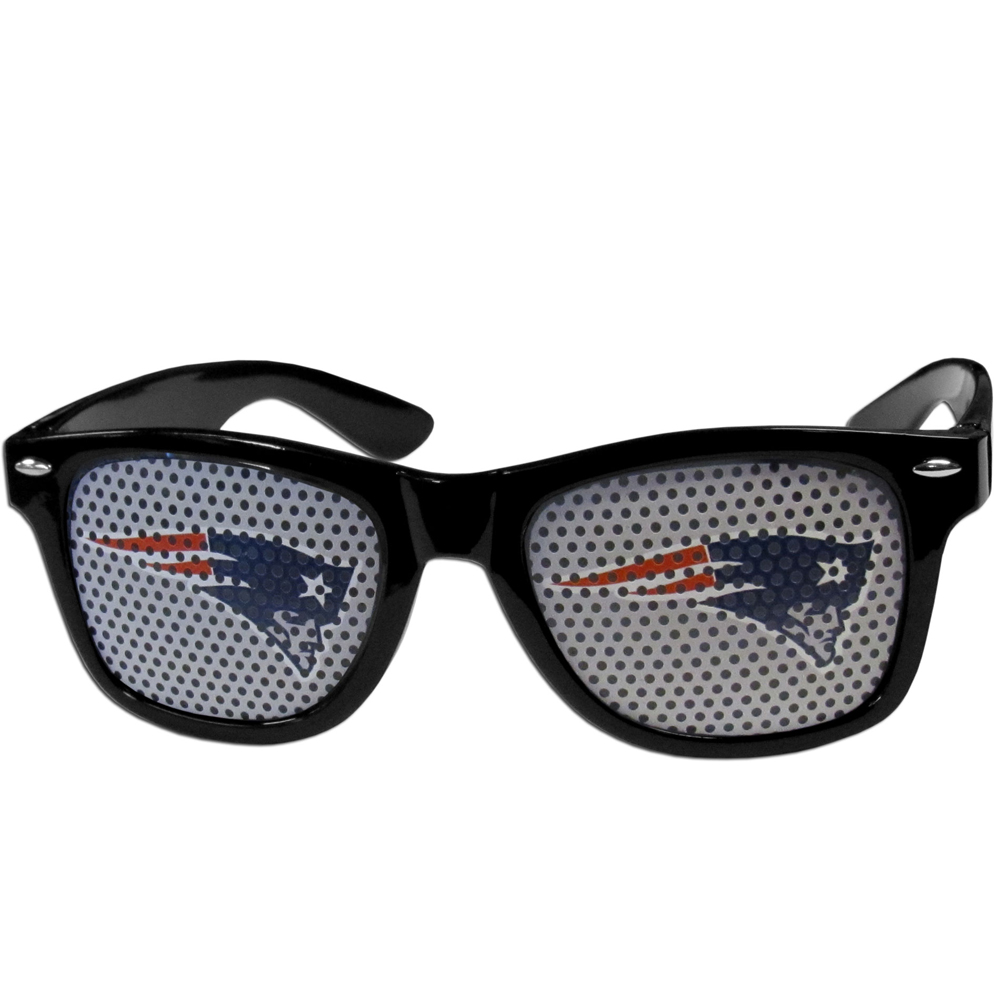 New England Patriots Game Day Shades - Our officially licensed game day shades are the perfect accessory for the devoted New England Patriots fan! The sunglasses have durable polycarbonate frames with flex hinges for comfort and damage resistance. The lenses feature brightly colored team clings that are perforated for visibility.