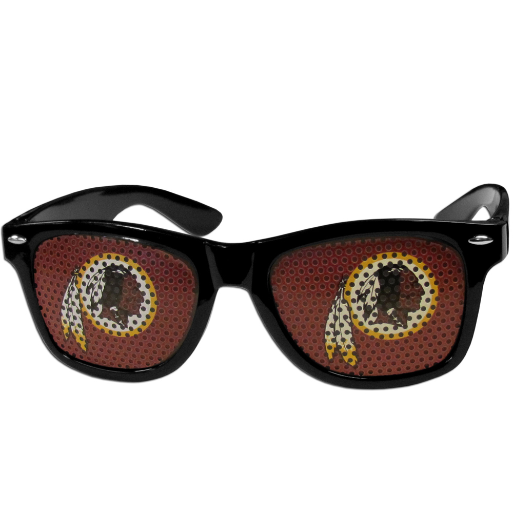 Washington Redskins Game Day Shades - Our officially licensed game day shades are the perfect accessory for the devoted Washington Redskins fan! The sunglasses have durable polycarbonate frames with flex hinges for comfort and damage resistance. The lenses feature brightly colored team clings that are perforated for visibility.