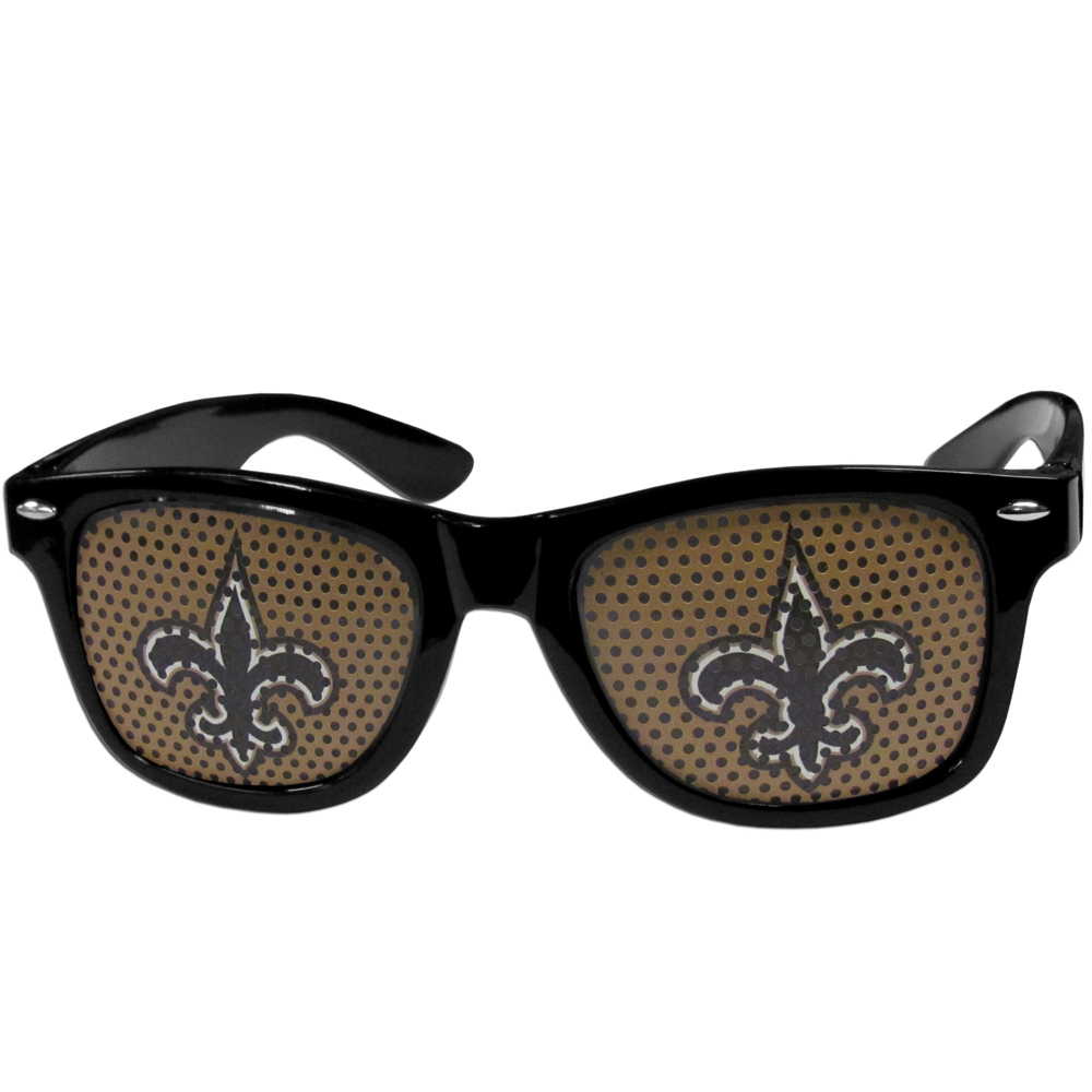 New Orleans Saints Game Day Shades - Our officially licensed game day shades are the perfect accessory for the devoted New Orleans Saints fan! The sunglasses have durable polycarbonate frames with flex hinges for comfort and damage resistance. The lenses feature brightly colored team clings that are perforated for visibility.