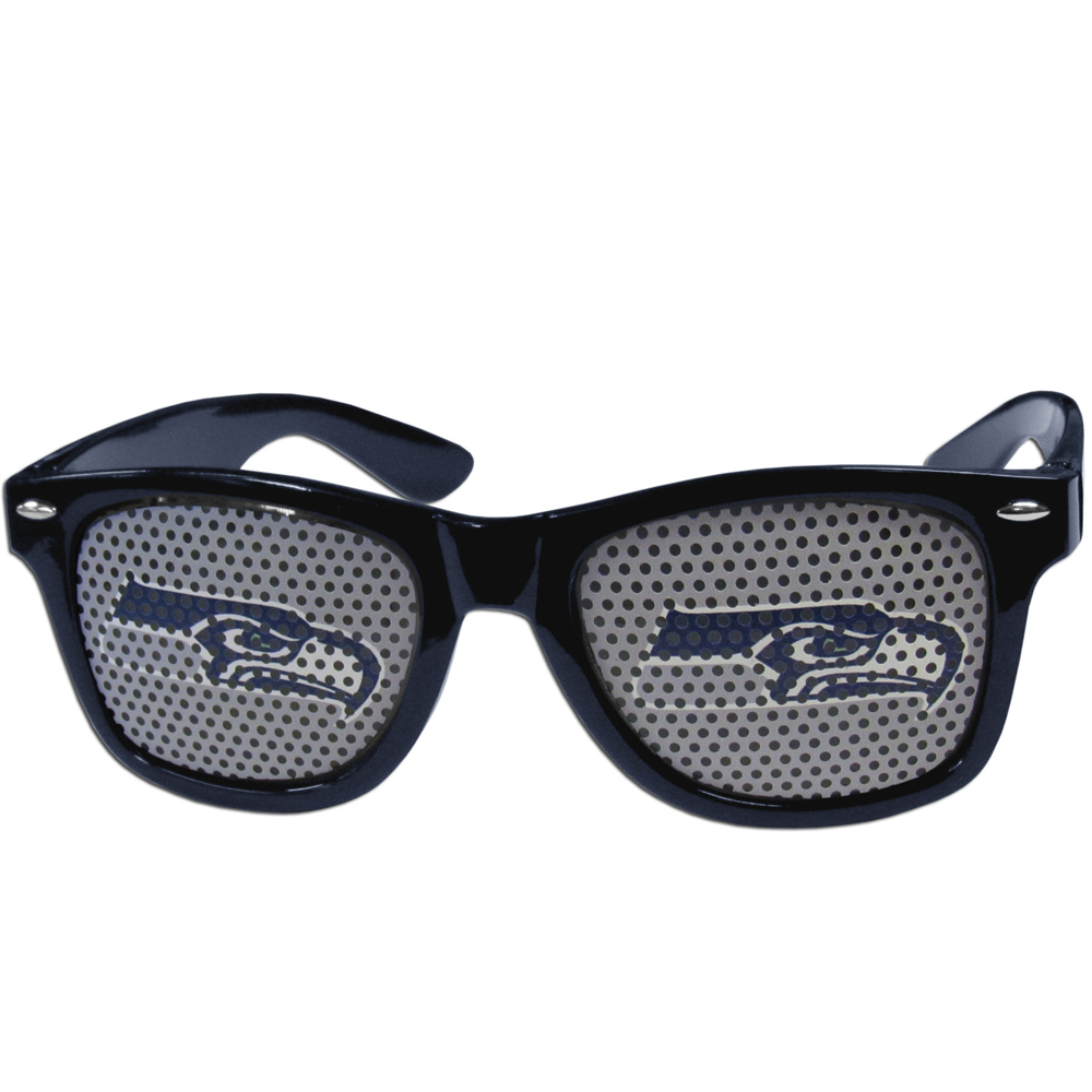 Seattle Seahawks Game Day Shades - Our officially licensed game day shades are the perfect accessory for the devoted Seattle Seahawks fan! The sunglasses have durable polycarbonate frames with flex hinges for comfort and damage resistance. The lenses feature brightly colored team clings that are perforated for visibility.