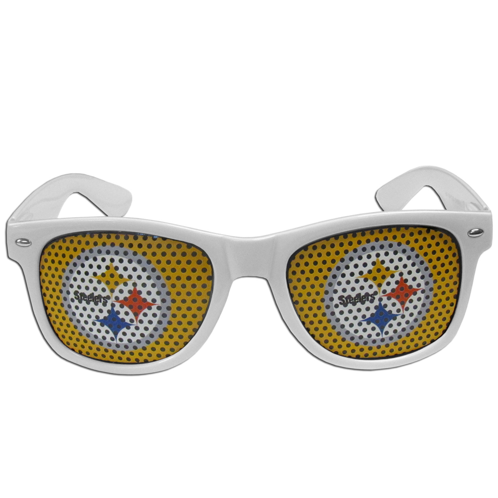 Pittsburgh Steelers Game Day Shades - Our officially licensed game day shades are the perfect accessory for the devoted Pittsburgh Steelers fan! The sunglasses have durable polycarbonate frames with flex hinges for comfort and damage resistance. The lenses feature brightly colored team clings that are perforated for visibility.