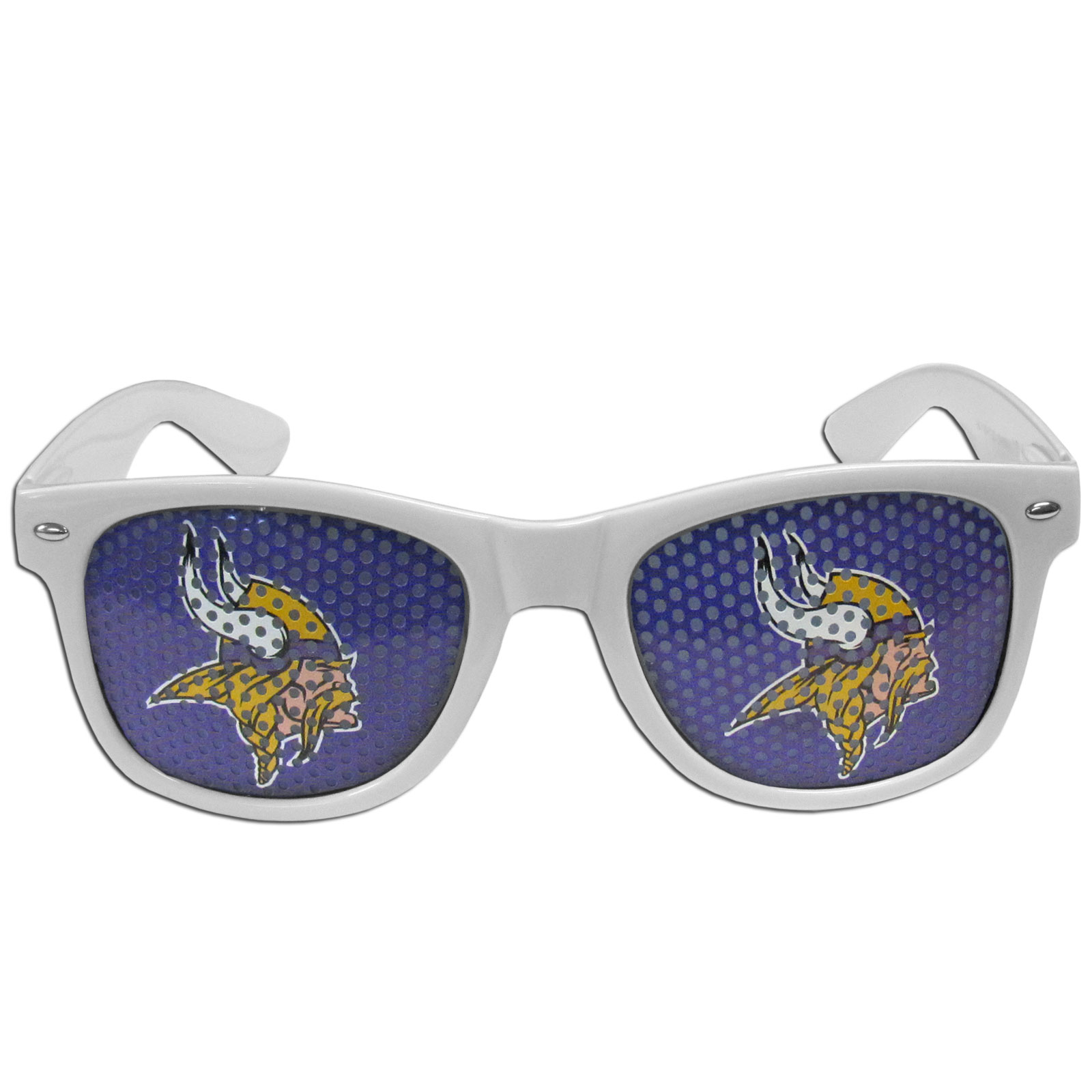 Minnesota Vikings Game Day Shades - Our officially licensed game day shades are the perfect accessory for the devoted Minnesota Vikings fan! The sunglasses have durable polycarbonate frames with flex hinges for comfort and damage resistance. The lenses feature brightly colored team clings that are perforated for visibility.