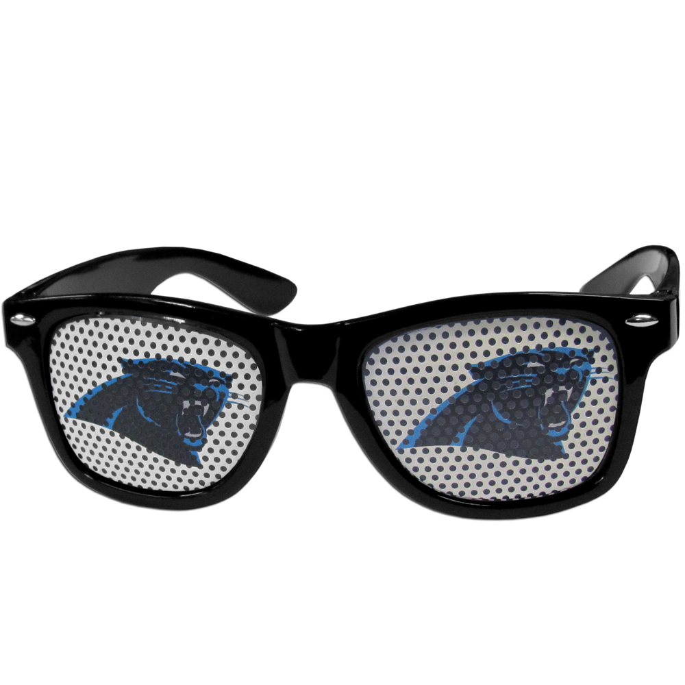 Carolina Panthers Game Day Shades - Our officially licensed game day shades are the perfect accessory for the devoted Carolina Panthers fan! The sunglasses have durable polycarbonate frames with flex hinges for comfort and damage resistance. The lenses feature brightly colored team clings that are perforated for visibility.