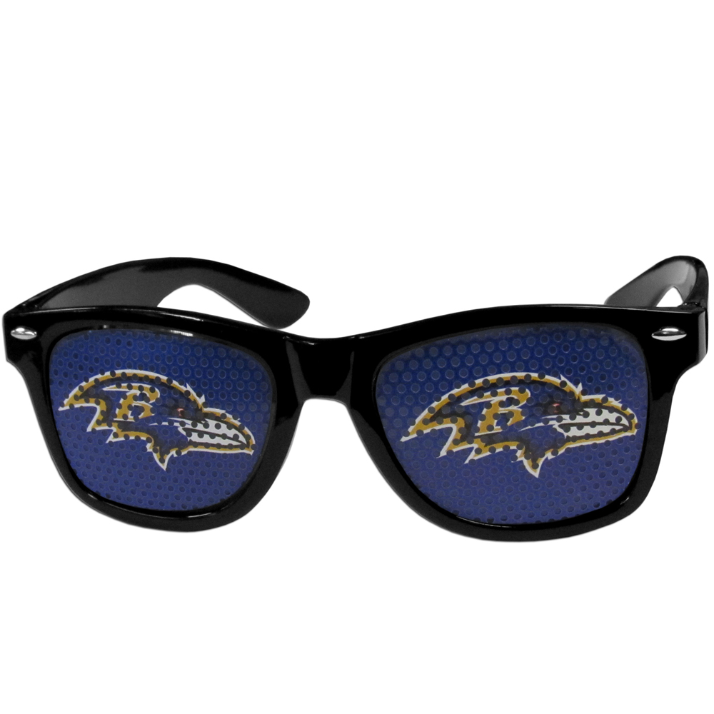 Baltimore Ravens Game Day Shades - Our officially licensed game day shades are the perfect accessory for the devoted Baltimore Ravens fan! The sunglasses have durable polycarbonate frames with flex hinges for comfort and damage resistance. The lenses feature brightly colored team clings that are perforated for visibility.
