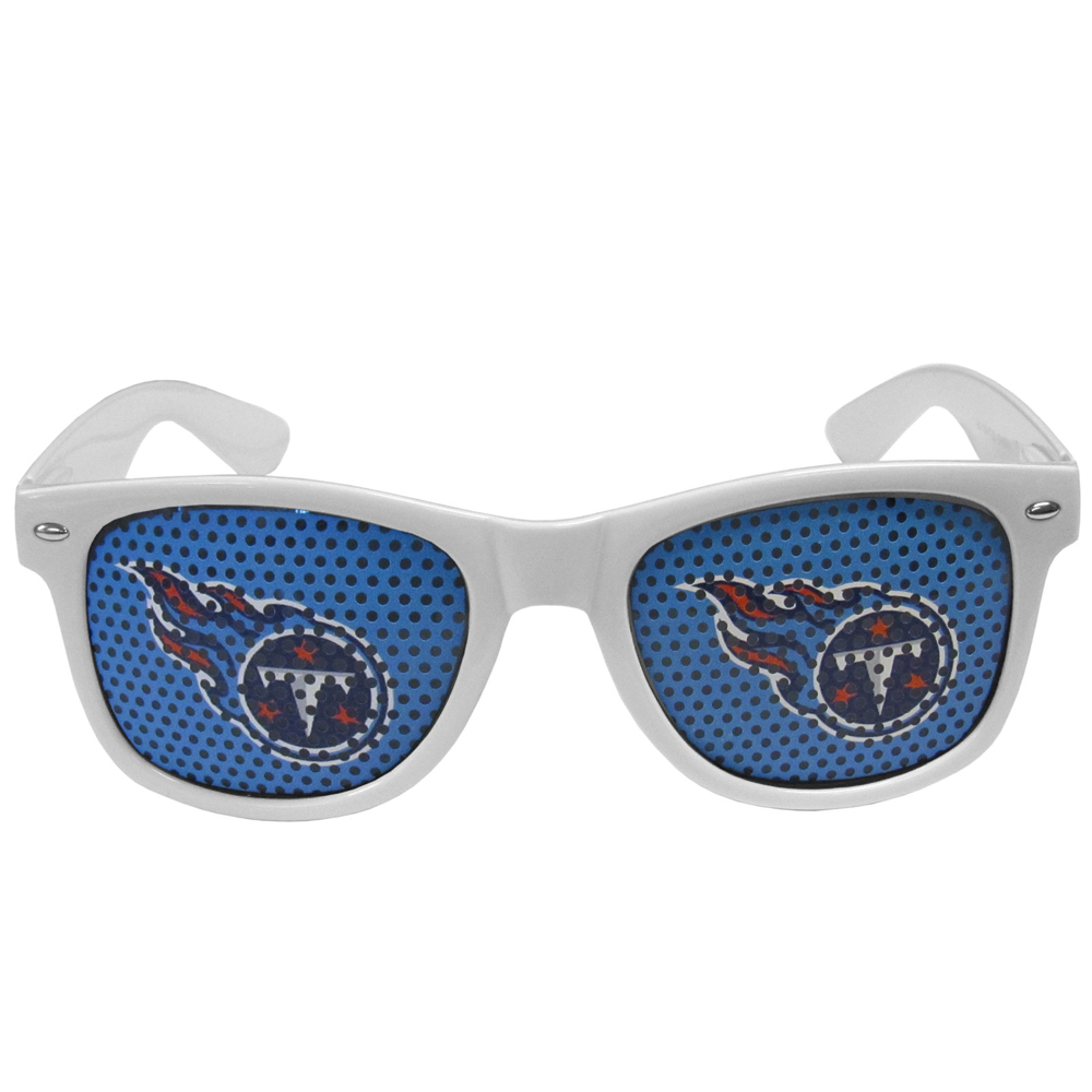 Tennessee Titans Game Day Shades - Our officially licensed game day shades are the perfect accessory for the devoted Tennessee Titans fan! The sunglasses have durable polycarbonate frames with flex hinges for comfort and damage resistance. The lenses feature brightly colored team clings that are perforated for visibility.