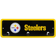 Pittsburgh Steelers Wall Mounted Key Rack - This 9 inch key rack has bright team graphics and 3 pegs to hang key chain from. The stamped aluminium frame is light weight and easy to hang.