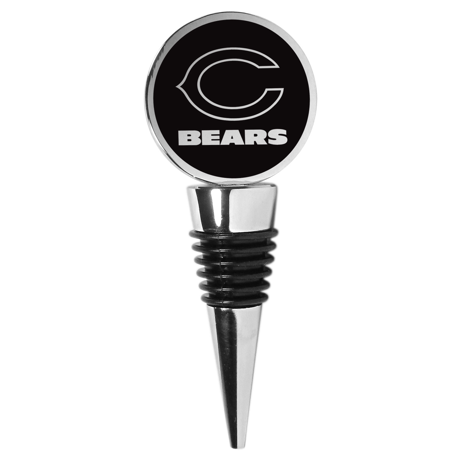 Chicago Bears Wine Stopper - This beautiful Chicago Bears wine stopper has a classy monochromatic logo on the top disc. The tapered rubber rings allow you to create a tight seal on multiple sizes of wine bottles so that you are able to preserve the wine for later enjoyment. This a perfect addition to a game day celebration.