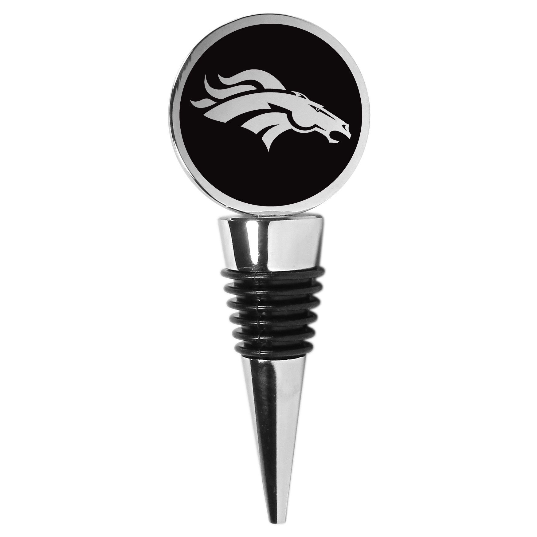 Denver Broncos Wine Stopper - This beautiful Denver Broncos wine stopper has a classy monochromatic logo on the top disc. The tapered rubber rings allow you to create a tight seal on multiple sizes of wine bottles so that you are able to preserve the wine for later enjoyment. This a perfect addition to a game day celebration.