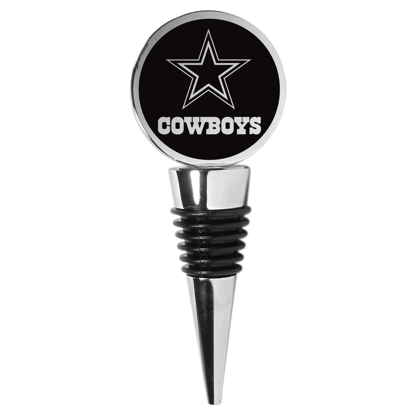 Dallas Cowboys Wine Stopper - This beautiful Dallas Cowboys wine stopper has a classy monochromatic logo on the top disc. The tapered rubber rings allow you to create a tight seal on multiple sizes of wine bottles so that you are able to preserve the wine for later enjoyment. This a perfect addition to a game day celebration.