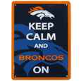 Denver Broncos Keep Calm Sign - One of the most enduring motivational signs of all time is now available with your beloved Denver Broncos logo. The 9 inch by 12 inch sign is a must have for any fan cave!