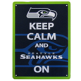 Seattle Seahawks Keep Calm Sign - One of the most enduring motivational signs of all time is now available with your beloved Seattle Seahawks logo. The 9 inch by 12 inch sign is a must have for any fan cave!