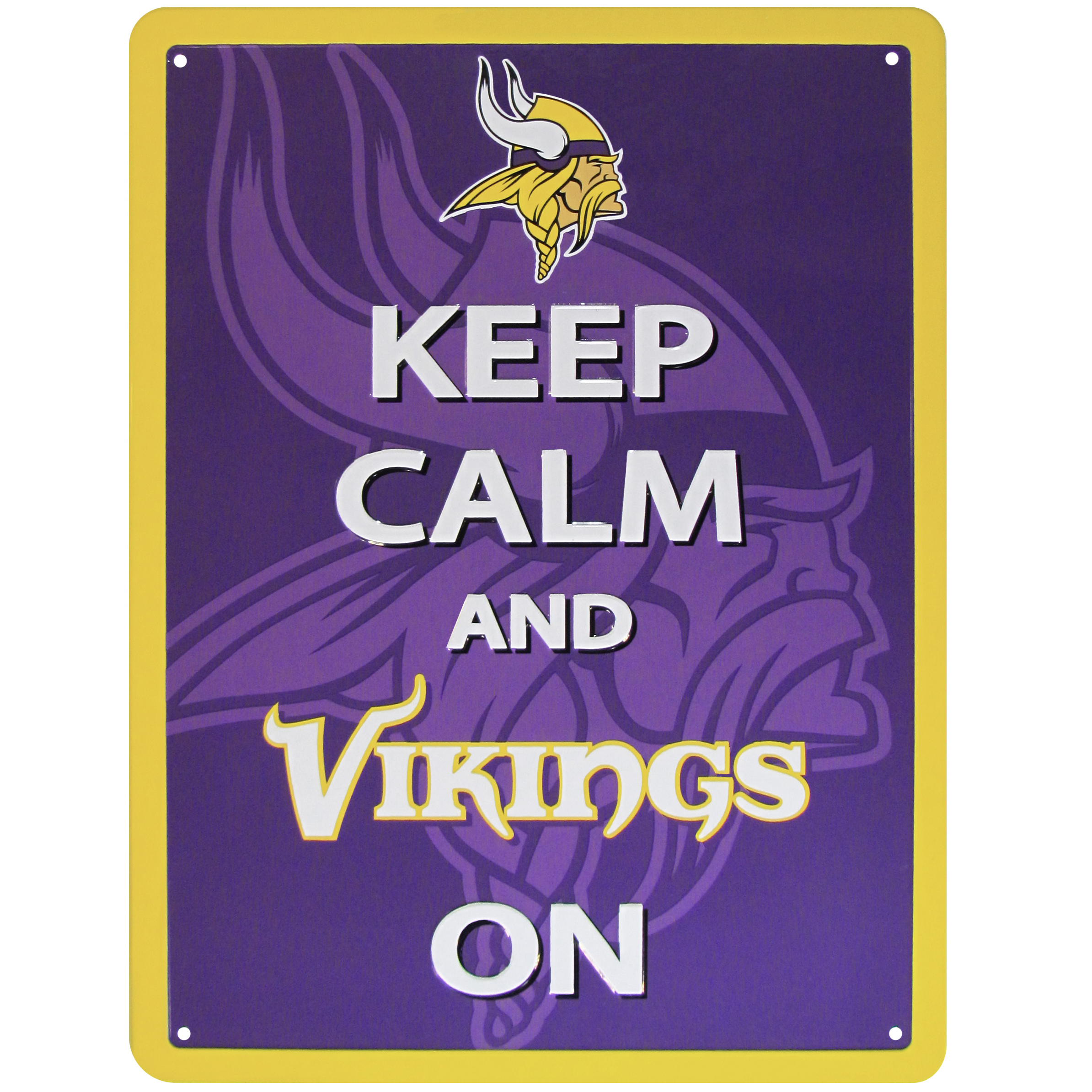 Minnesota Vikings Keep Calm Sign - One of the most enduring motivational signs of all time is now available with your beloved Minnesota Vikings logo. The 9 inch by 12 inch sign is a must have for any fan cave!
