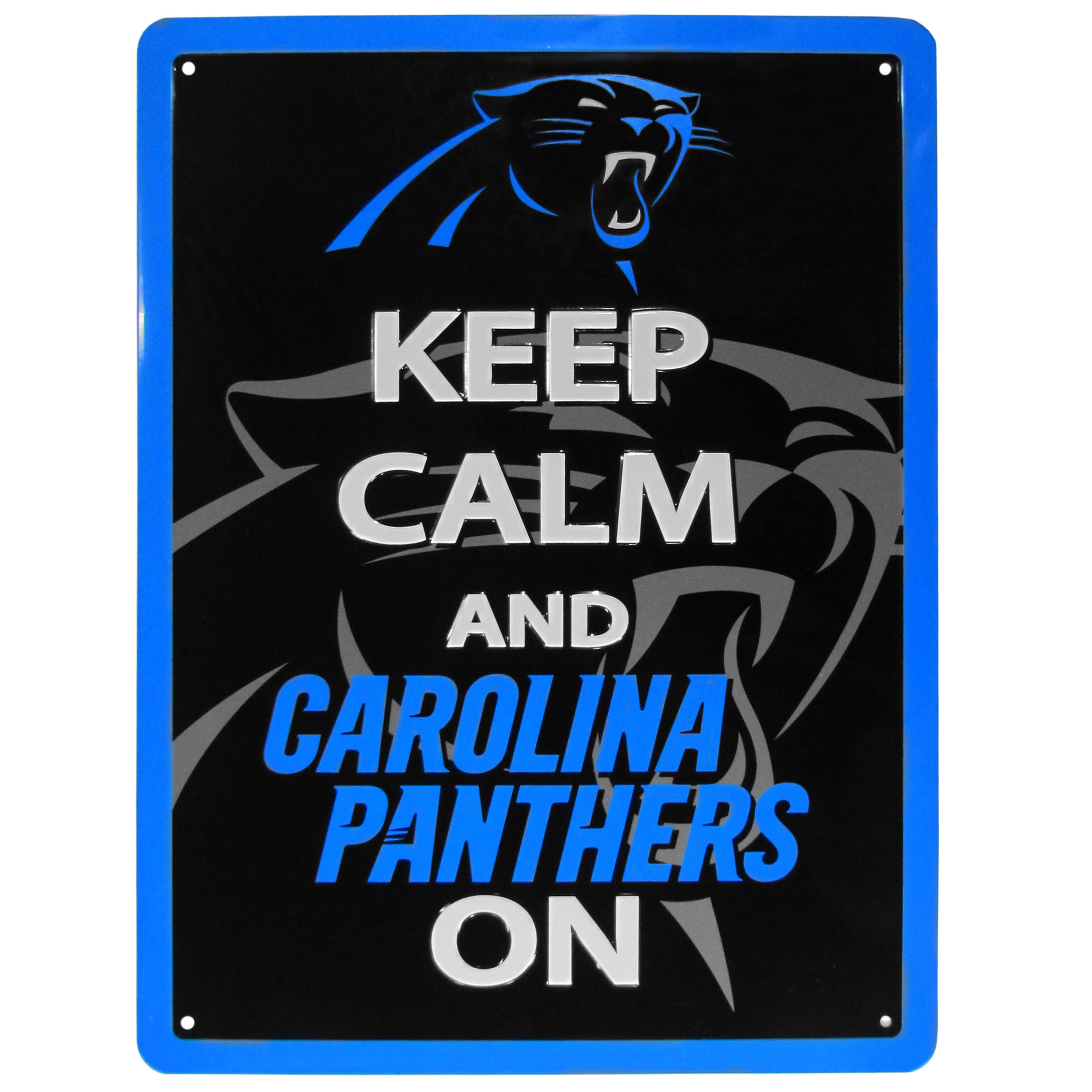 Carolina Panthers Keep Calm Sign - One of the most enduring motivational signs of all time is now available with your beloved Carolina Panthers logo. The 9 inch by 12 inch sign is a must have for any fan cave!