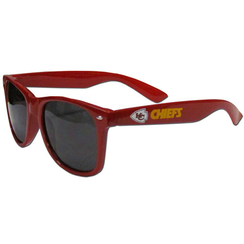 Kansas City Chiefs Beachfarer Sunglasses - Our NFL Kansas City Chiefs Beachfarer sunglass feature the Kansas City Chiefs logo and Kansas City Chiefs name silk screened on the arm of these great retro glasses.  400 UVA protection. Officially licensed NFL product Licensee: Siskiyou Buckle Thank you for visiting CrazedOutSports.com
