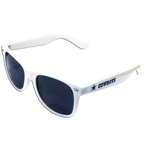 Dallas Cowboys White Beachfarer Sunglasses - Our NFL Dallas Cowboys White Beachfarer Sunglasses sunglass feature the Dallas Cowboys logo and Dallas Cowboys name silk screened on the arm of these great retro glasses.  400 UVA protection. Officially licensed NFL product Licensee: Siskiyou Buckle Thank you for visiting CrazedOutSports.com