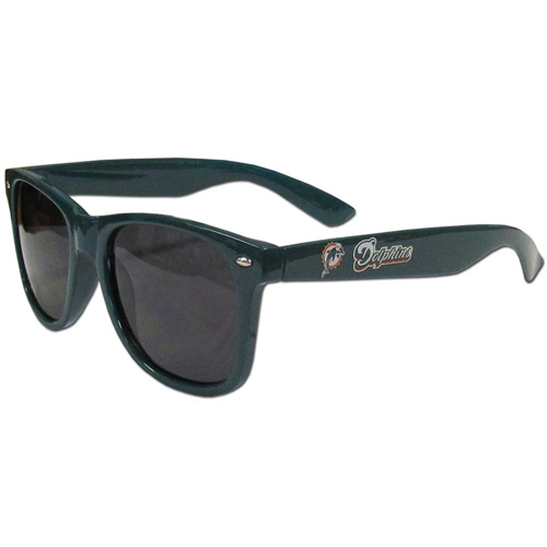 Miami Dolphins Beachfarer Sunglasses - Our NFL Miami Dolphins Beachfarer Sunglasses feature the Miami Dolphins logo and Miami Dolphins name silk screened on the arm of these great retro glasses.  400 UVA protection. Officially licensed NFL product Licensee: Siskiyou Buckle Thank you for visiting CrazedOutSports.com