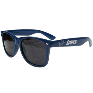 Detroit Lions Beachfarer Sunglasses - These NFL Detroit Lions Beachfarer Sunglasses feature the Detroit Lions logo and Detroit Lions name silk screened on the arm of these great retro glasses.  400 UVA protection. Officially licensed NFL product Licensee: Siskiyou Buckle .com