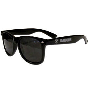 Oakland Raiders Beachfarer Sunglasses - Our NFL Oakland Raiders Beachfarer Sunglasses feature the Oakland Raiders logo and Oakland Raiders name silk screened on the arm of these great retro glasses.  400 UVA protection. Officially licensed NFL product Licensee: Siskiyou Buckle Thank you for visiting CrazedOutSports.com
