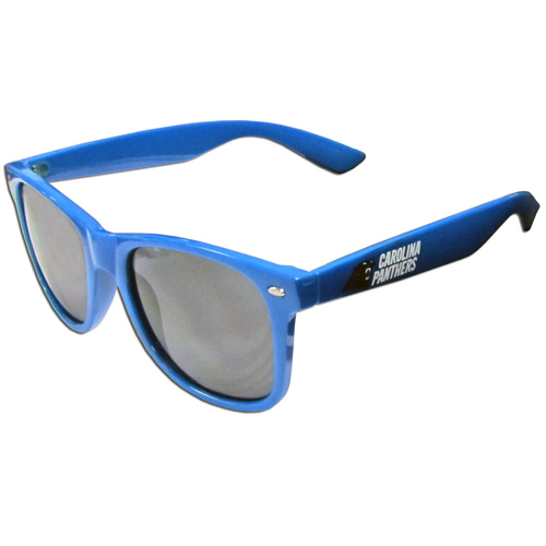 Carolina Panthers Beachfarer Sunglasses - Our NFL Carolina Panthers Beachfarer Sunglasses feature the Carolina Panthers logo and Carolina Panthers name silk screened on the arm of these great retro glasses.  400 UVA protection. Officially licensed NFL product Licensee: Siskiyou Buckle Thank you for visiting CrazedOutSports.com