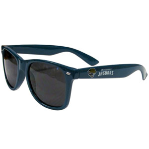 Jacksonville Jaguars Beachfarer Sunglasses - Our NFL Jacksonville Jaguars Beachfarer Sunglasses feature the Jacksonville Jaguars logo and Jacksonville Jaguars name silk screened on the arm of these great retro glasses.  400 UVA protection. Officially licensed NFL product Licensee: Siskiyou Buckle Thank you for visiting CrazedOutSports.com