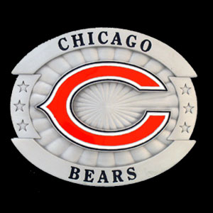 """Oversized NFL Buckle - Chicago Bears - Our NFL oversized belt buckle is carved and enameled in team colors. Features fine detailing and distinctive background. Measure 4 x 3 3/8"""". Officially licensed NFL product Licensee: Siskiyou Buckle Thank you for visiting CrazedOutSports.com"""