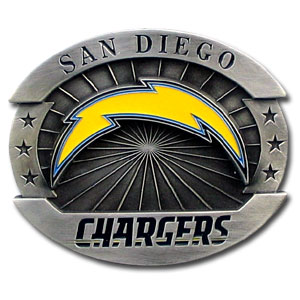 "Oversized NFL Buckle - San Diego Chargers - Our NFL oversized belt buckle is carved and enameled in team colors. Features fine detailing and distinctive background. Measure 4 x 3 3/8"". Officially licensed NFL product Licensee: Siskiyou Buckle .com"