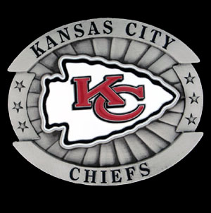 "Oversized NFL Buckle - Oversized Buckle - Kansas City Chiefs - Our NFL oversized belt buckle is carved and enameled in team colors. Features fine detailing and distinctive background. Measure 4 x 3 3/8"". Officially licensed NFL product Licensee: Siskiyou Buckle Thank you for visiting CrazedOutSports.com"