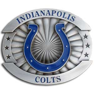 "Colts Oversized Buckle - Our collegiate oversized belt buckle is carved and enameled in team colors. Features fine detailing and distinctive background. Measure 4 x 3 3/8"". Officially licensed NFL product Licensee: Siskiyou Buckle Thank you for visiting CrazedOutSports.com"
