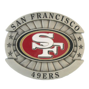 "Oversized NFL Buckle - San Francisco 49ers - Our NFL oversized belt buckle is carved and enameled in team colors. Features fine detailing and distinctive background. Measure 4 x 3 3/8"". Officially licensed NFL product Licensee: Siskiyou Buckle .com"