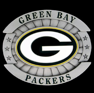 "Oversized NFL Buckle - Oversized Buckle - Green Bay Packers - Our NFL oversized belt buckle is carved and enameled in team colors. Features fine detailing and distinctive background. Measure 4 x 3 3/8"". Officially licensed NFL product Licensee: Siskiyou Buckle Thank you for visiting CrazedOutSports.com"
