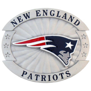 "Oversized NFL Buckle - New England Patriots - Our NFL oversized belt buckle is carved and enameled in team colors. Features fine detailing and distinctive background. Measure 4 x 3 3/8"". Officially licensed NFL product Licensee: Siskiyou Buckle .com"