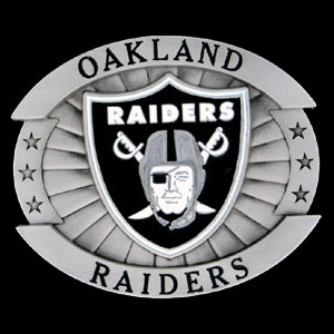 "Oversized NFL Buckle - Oversized Buckle - Oakland Raiders - Our NFL oversized belt buckle is carved and enameled in team colors. Features fine detailing and distinctive background. Measure 4 x 3 3/8"". Officially licensed NFL product Licensee: Siskiyou Buckle Thank you for visiting CrazedOutSports.com"