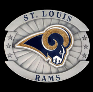 "Oversized NFL Buckle - St. Louis Rams - Our NFL oversized belt buckle is carved and enameled in team colors. Features fine detailing and distinctive background. Measure 4 x 3 3/8"". Officially licensed NFL product Licensee: Siskiyou Buckle .com"
