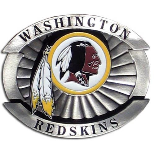 "Oversized NFL Buckle - Washington Redskins - Our NFL oversized belt buckle is carved and enameled in team colors. Features fine detailing and distinctive background. Measure 4 x 3 3/8"". Officially licensed NFL product Licensee: Siskiyou Buckle Thank you for visiting CrazedOutSports.com"