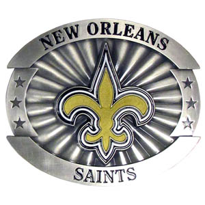 "Saints Oversized Buckle - Our NFL oversized belt buckle is carved and enameled in team colors. Features fine detailing and distinctive background. Measure 4 x 3 3/8"". Officially licensed NFL product Licensee: Siskiyou Buckle Thank you for visiting CrazedOutSports.com"