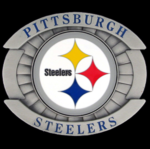 "Oversized NFL Buckle - Oversized Buckle - Pittsburgh Steelers - Our NFL oversized belt buckle is carved and enameled in team colors. Features fine detailing and distinctive background. Measure 4 x 3 3/8"". Officially licensed NFL product Licensee: Siskiyou Buckle .com"