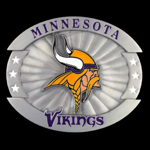 "Oversized NFL Buckle - Minnesota Vikings - Our NFL oversized belt buckle is carved and enameled in team colors. Features fine detailing and distinctive background. Measure 4 x 3 3/8"". Officially licensed NFL product Licensee: Siskiyou Buckle .com"