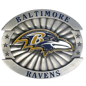 "NFL Buckle - Baltimore Ravens - Our NFL oversized belt buckle is carved and enameled in team colors. Features fine detailing and distinctive background. Measure 4 x 3 3/8"". Officially licensed NFL product Licensee: Siskiyou Buckle .com"