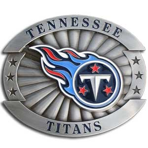 "Titans Oversized Buckle - Our NFL oversized belt buckle is carved and enameled in team colors. Features fine detailing and distinctive background. Measure 4 x 3 3/8"". Officially licensed NFL product Licensee: Siskiyou Buckle .com"