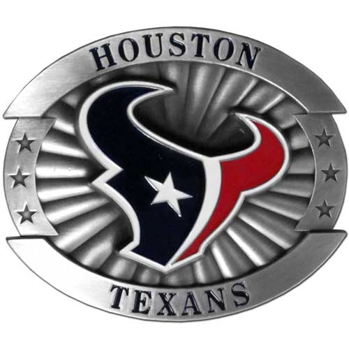"Houston Texans Oversized Buckle - Our NFL oversized belt buckle is carved and enameled in team colors. Features fine detailing and distinctive background. Measure 4 x 3 3/8"". Officially licensed NFL product Licensee: Siskiyou Buckle .com"