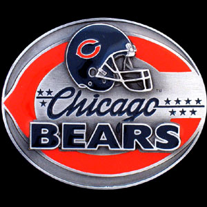 NFL Belt Buckle - Chicago Bears - This finely sculpted and enameled NFL team belt buckle contains exceptional 3D detailing. Siskiyou's unique buckle designs often become collector's items and are unequaled with the best craftsmanship.  Officially licensed NFL product Licensee: Siskiyou Buckle .com