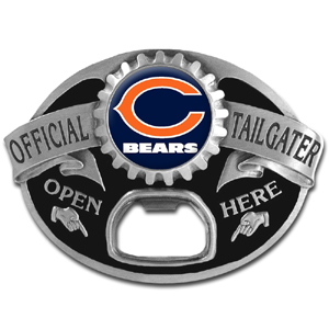 NFL Tailgater Buckle - Chicago Bears - Quality detail and sturdy functionality highlight this great tailgater buckle that features an inset team dome logo and functional bottle opener. Officially licensed NFL product Licensee: Siskiyou Buckle .com