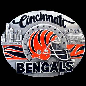 NFL Belt Buckle - Cincinnati Bengals - This finely sculpted and enameled NFL team belt buckle contains exceptional 3D detailing. Siskiyou's unique buckle designs often become collector's items and are unequaled with the best craftsmanship.  Officially licensed NFL product Licensee: Siskiyou Buckle Thank you for visiting CrazedOutSports.com