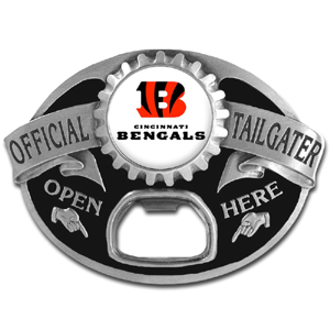 NFL Tailgater Buckle - Cincinnati Bengals - Quality detail and sturdy functionality highlight this great tailgater buckle that features an inset team dome logo and functional bottle opener. Officially licensed NFL product Licensee: Siskiyou Buckle .com