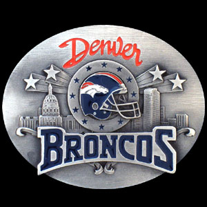 NFL Belt Buckle - Denver Broncos  - This finely sculpted and enameled NFL team belt buckle contains exceptional 3D detailing. Siskiyou's unique buckle designs often become collector's items and are unequaled with the best craftsmanship.  Officially licensed NFL product Licensee: Siskiyou Buckle Thank you for visiting CrazedOutSports.com
