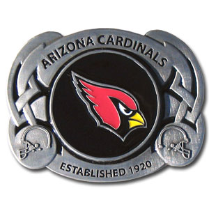 NFL Belt Buckle - Arizona Cardinals - This finely sculpted and enameled Arizona Cardinals NFL belt buckle contains exceptional 3D detailing. Siskiyou's unique buckle designs often become collector's items and are unequaled with the best craftsmanship. Officially licensed NFL product Licensee: Siskiyou Buckle .com